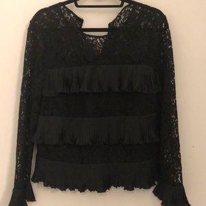 Black lace ruffle tier blouse